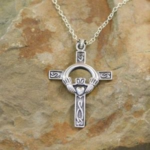 Jewelry - Sterling Silver Celtic Claddagh Cross Necklace